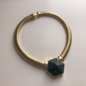 80s Onyx Black Marble Hexagon Gold Necklace